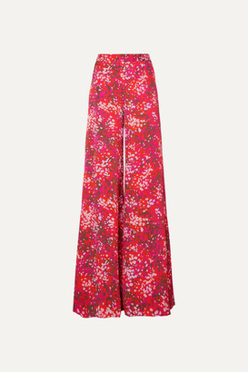 Stella McCartney Net Sustain Printed Crepe De Chine Wide-leg Pants - Red