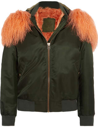 Mr & Mrs Italy Hooded Shearling-lined Cotton-canvas Bomber Jacket - Green