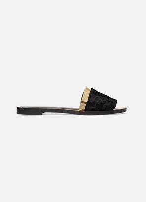Lanvin Faux Fur And Metallic Leather Slides - Black