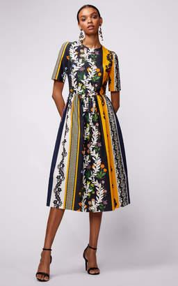 Oscar de la Renta Short Sleeve Printed Midi Dress
