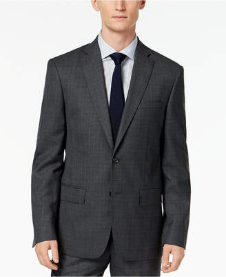DKNY Men's Slim-Fit Gray/Blue Plaid Suit Jacket