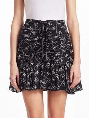 Cinq à Sept Women's Amelia Floral Mini Skirt - Black Ivory - Size 10