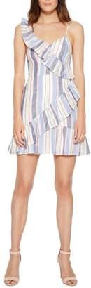 Parker Lollie Stripe Ruffle Linen Mini Dress