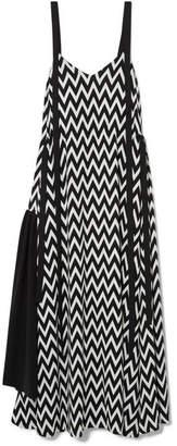 Loewe Paneled Printed Jersey Maxi Dress - Black