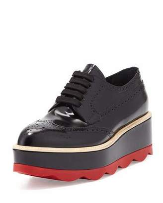 Prada Spazzolato Leather Lace-Up Creeper, Black/Red (Nero+Scarlatto) $950 thestylecure.com