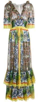 Dolce & Gabbana Ruffled Printed Silk-Voile Maxi Dress