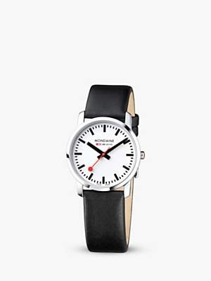 Mondaine Unisex Simply Elegant Leather Strap Watch