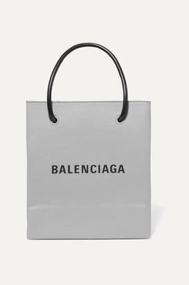 Balenciaga Xxs Printed Textured-leather Tote - Gray