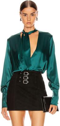 Jonathan Simkhai Wrap Front Bodysuit in Deep Emerald | FWRD