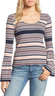 Splendid Stripe Bell Sleeve Tee