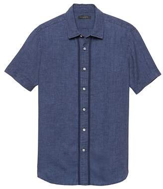 Banana Republic Camden Standard-Fit Stitch Detail Linen Shirt