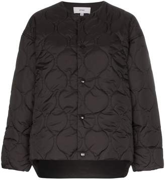 Hyke collarless quilted jacket