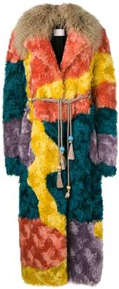Peter Pilotto multicoloured shearling coat