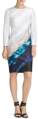 Donna Karan Print Flare-Sleeve Sheath Dress