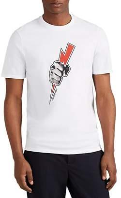 Neil Barrett Men's Lightning-Fist Cotton T-Shirt - White