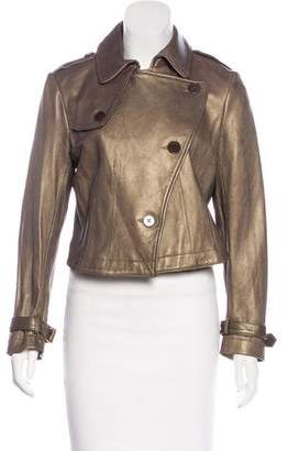 Theory Metallic Leather Jacket w/ Tags