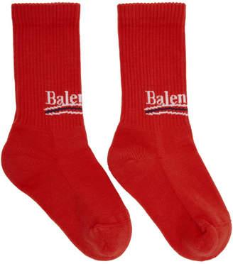 Balenciaga Red Campaign Logo Socks