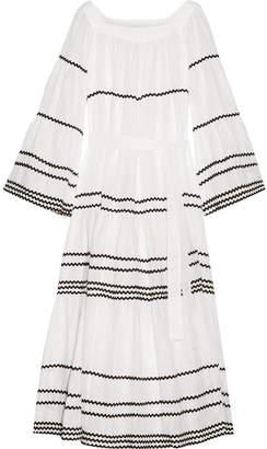 Lisa Marie Fernandez Rickrack-trimmed Linen Maxi Dress - White