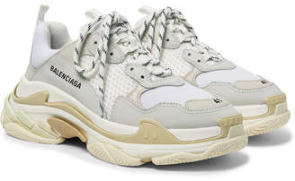 Balenciaga Triple S Nubuck, Leather And Mesh Sneakers - White