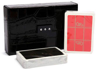NEW Renzo Black Crocodile Print Playing Card Case w/Crystals