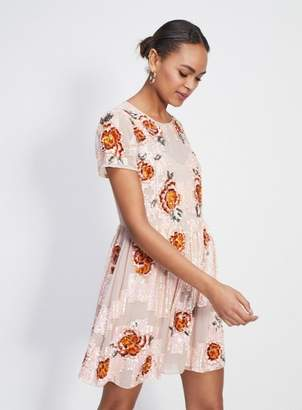 Miss Selfridge Floral embellished fit and flare dress