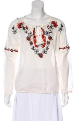 Tory Burch Embroidered Peasant Shirt