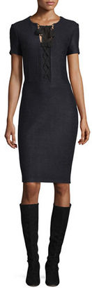 St. John Collection Newport Knit Tie-Neck Short-Sleeve Dress, Ruby $1,095 thestylecure.com