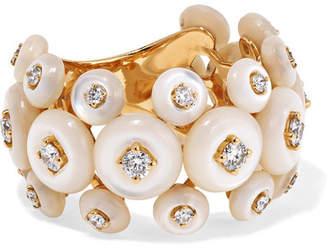 Fernando Jorge Surrounding 18-karat Gold, Diamond And Mother-of-pearl Ring