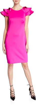 Eliza J Ruffle-Sleeve Scuba Sheath Dress