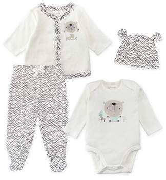 M·A·C Mac & Moon Cardigan, Bodysuit, Footed Pants, & Cap, 4pc Essentials Set (Baby Boys or Baby Girls Unisex)