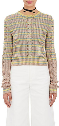 Philosophy di Lorenzo Serafini Women's Metallic Shrunken-Fit Sweater $525 thestylecure.com