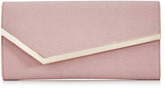 Jimmy Choo ERICA Ballet Pink Fine Glitter Fabric Clutch Bag