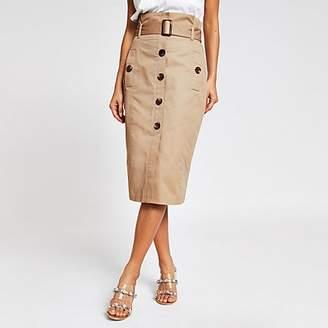 River Island Beige belted pencil skirt