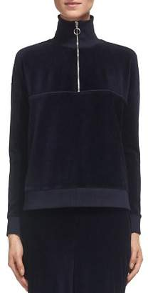 Whistles Zip Mock-Neck Velour Sweatshirt