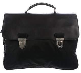 Prada Leather-Trimmed Tessuto Briefcase