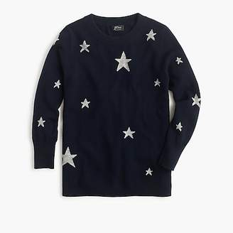 J.Crew Everyday cashmere crewneck sweater with intarsia-knit stars