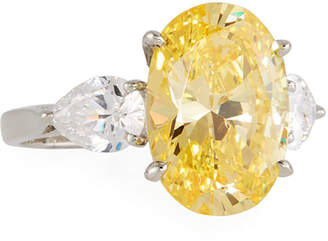 FANTASIA Triple Oval & Pear Canary Cubic Zirconia Ring