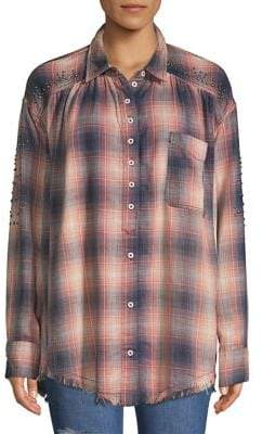 Free People Distressed Plaid Button Down Shirt