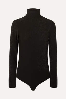 Wolford Silver Dust Metallic Stretch-jersey Turtleneck Thong Bodysuit - Black