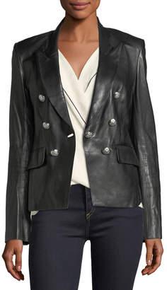 Veronica Beard Cooke Peak-Lapel Leather Jacket