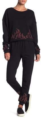 Honey Punch Embellished Flame Design Sweatpants