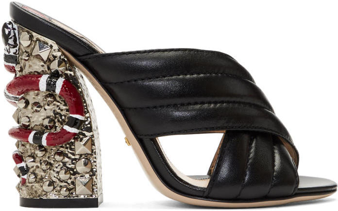 Gucci Black Snake and Studs Sandals