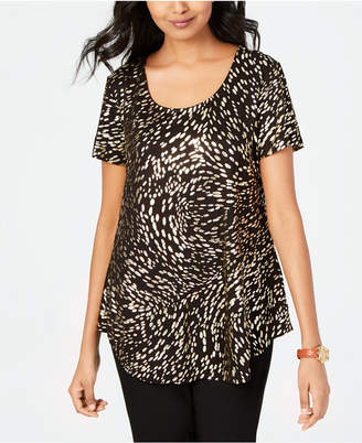 JM Collection Petite Metallic-Print Shirttail-Hem Top