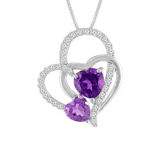 FINE JEWELRY Lab-Created Amethyst & White Sapphire Sterling Silver Triple Interlocking Heart Pendant Necklace