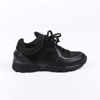 Chanel Black Leather Trainers
