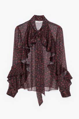 Genuine People Ruffle and Bow Tie Blouse