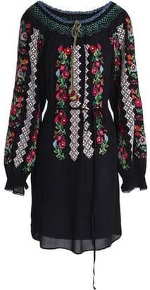 Needle & Thread Embroidered Crepe Mini Dress