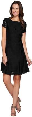 Isaac Mizrahi Live! Stretch Lace Knit Dress w/ Godet Details