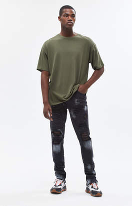 Pacsun Stacked Skinny Ripped Zip Bleach Splatter Jeans