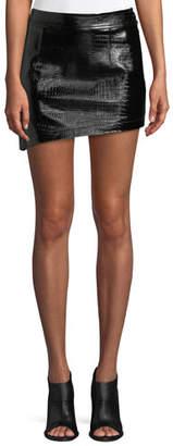 Helmut Lang Croc-Embossed Leather Mini Skirt